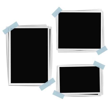 cintas: Marcos de la foto composición con cinta sobre fondo blanco. vector plantilla de diseño