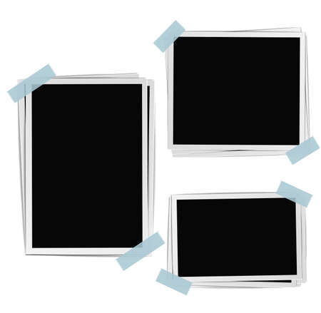 tapes: Photo frames composition with tape on white background. Vector design template Illustration
