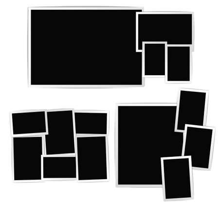 photo frames: Photo album composition set on white background. Vector design template Illustration