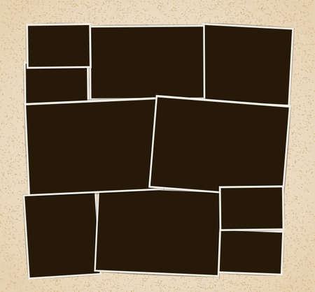 Photo frames album composition. Vector design template