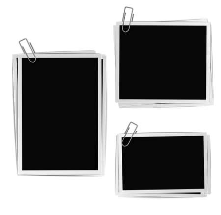 photo paper: Photo frames composition with clips on white background. Vector design template