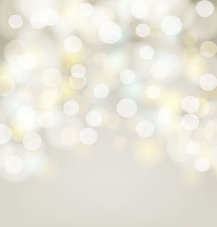 Abstract silver bokeh simple background with blurred light effects. Glowing golden light on abstract backdrop for Your design. vector illustration