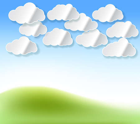 abstract template: Paper white clouds with shadow abstract background with sky and grass color. Vector design template