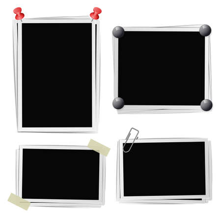 pushpins: Set of photo frames with pins, pushpins, adhesive tape, clips on white. Vector illustration Illustration