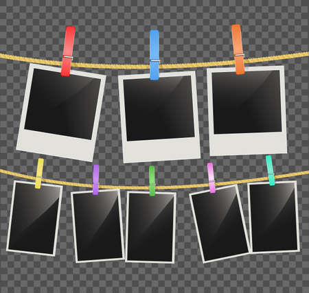 Photo empty frames on rope with wooden clothespins on transparent background. vector Illustration