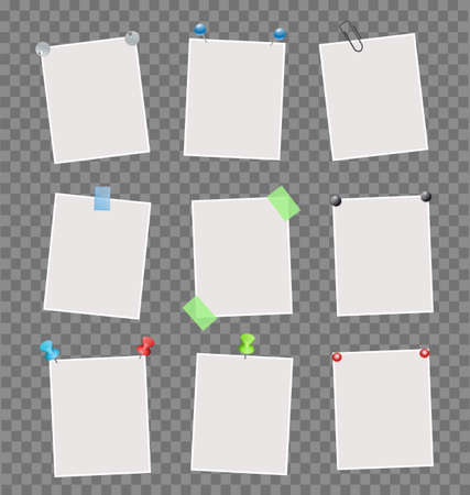 memos: Collection of note papers on transparent background.