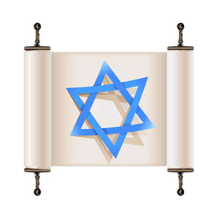 Star of David with shadow on Hebrew ancient scroll. Sign of Judaic religion and faith. Vector illustration Illustration
