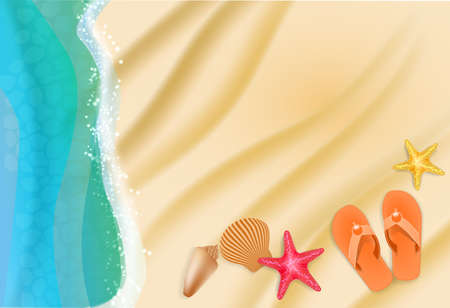 beach background with sand, water waves, starfish, seashells. Vector illustration