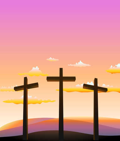 calvary: three crosses on the Calvary abstract background. vector illustration Illustration