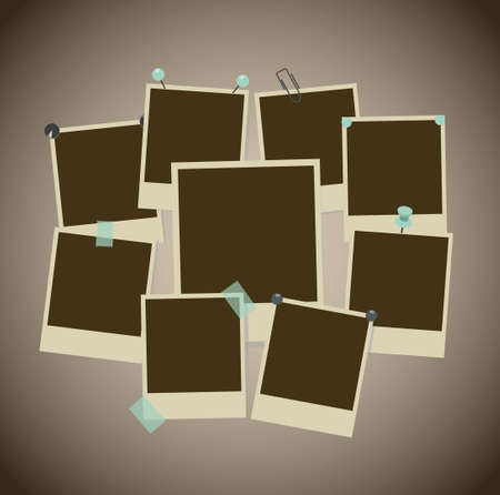 note board: Set of ancient photo frames with pins, pushpins, adhesive tape, clips. vector illustration Illustration