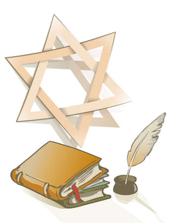 hebrew bible: Ancient books and feather and Star of David sign