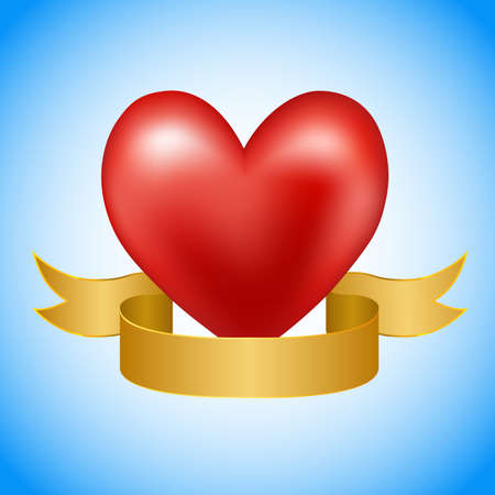 golden ribbon: Red heart with golden ribbon on blue background. Illustration