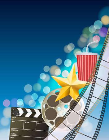 filmstrip: Cinema background with filmstrip, golden star, cup, clapperboard on blurry blue background. vector Illustration