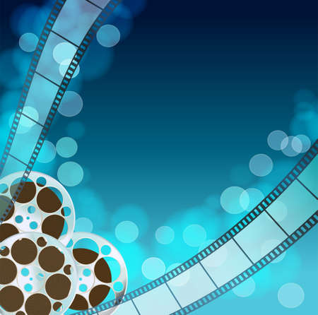 cinema film: Cinema blue  background with retro filmstrip, film reel. Vintage movie abstract background. vector