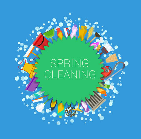 Spring cleaning round background. Set of cleaning supplies. Tools of housecleaning. Vector