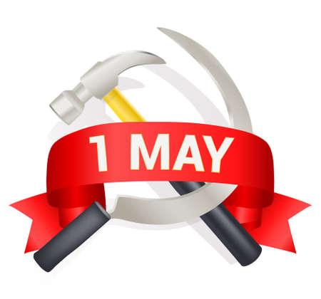 may: 1st may day greeting illustration with hammer and sickle and a bow with text. Labor day greeting, international worker day celebration template. vector illustration