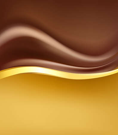 chocolate creamy abstract backgorund with gold border.  folding hot chocolate cream and golden design elements. vector