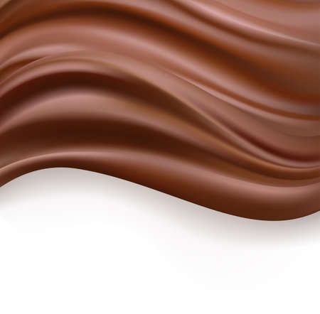 creamy chocolate over white background. sweet food design template background. delicious wavy dark chocolate cream on white. vector