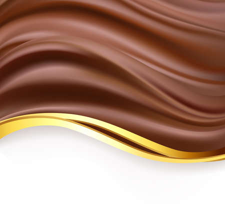 creamy: creamy chocolate with golden border over white background. sweet food design template background. delicious wavy dark chocolate cream on white. vector Illustration