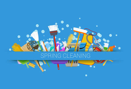 spring cleaning supplies blue background. tools of housecleaning with soap bubbles