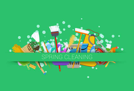 spring cleaning supplies green background. tools of housecleaning with soap bubbles