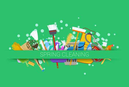 Voorjaarsschoonmaak levert groene achtergrond. instrumenten van schoonmaak met zeepbellen Stockfoto - 54325992