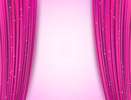 playhouse: pink theater curtains with glitter. abstract background with opera pink drapes and glittering stars. raster
