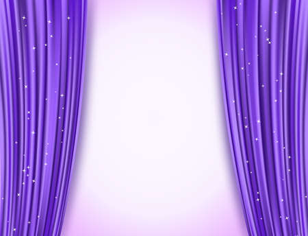 violet theater curtains with glitter Vectores