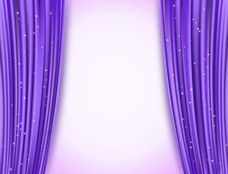 violet theatergordijnen met glitter Stock Illustratie