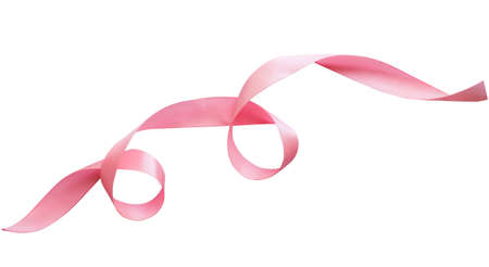 pink ribbon border with curls isolated on white