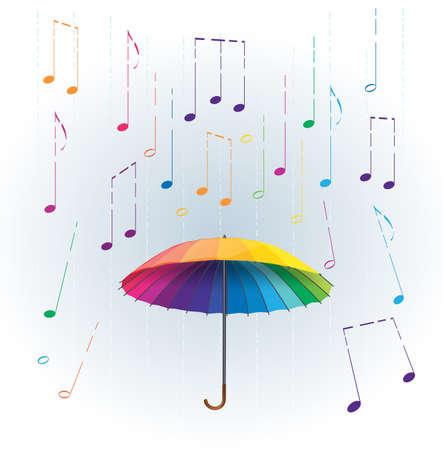 paraguas de colores del arco iris con estilizada como la lluvia caída de las notas musicales. resumen ilustración musical Ilustración de vector