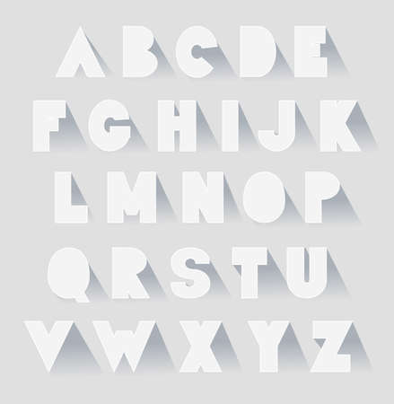 verbs: alphabet set with shadows. vector extra bold fat capital letters as paper