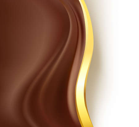 caramel: Chocolate creamy golden border background. Abstract background. Vector Illustration