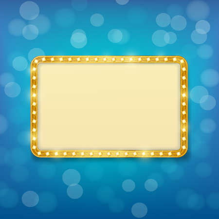 golden frame: cinema golden frame with light bulbs on blurry blue background Illustration