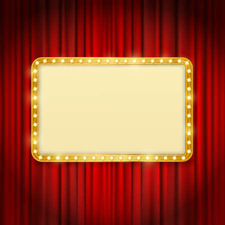 golden frame with light bulbs on red curtains background. vector design template Illustration