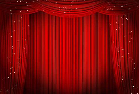 キラキラのオペラや劇場の背景を持つ赤いカーテンをオープン。ベクトル