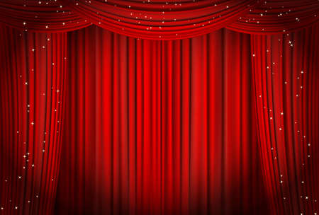 opera: Open red curtains with glitter opera or theater background. vector