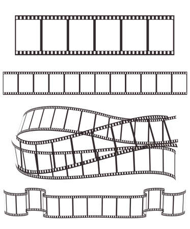 35mm film motion picture camera: set of empty film strips on white for Your design. vector illustration