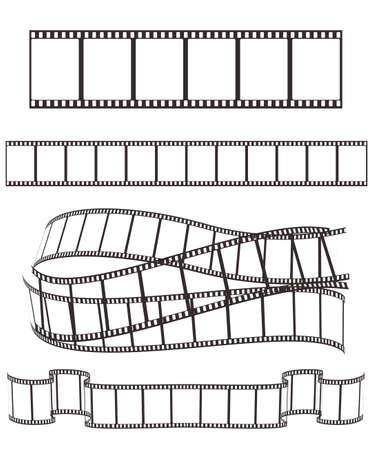 vintage photo: set of empty film strips on white for Your design. vector illustration