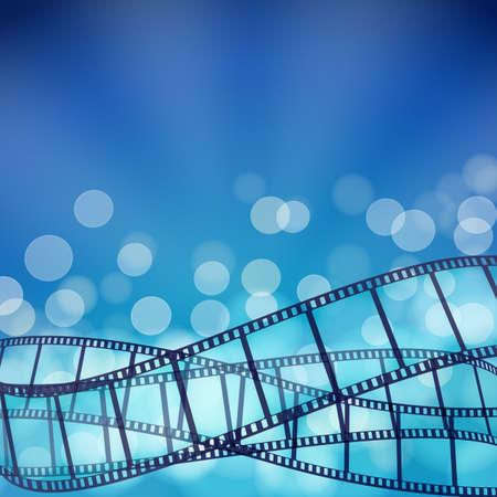 fondo azul con tiras de película de cine y los rayos de luz. ilustración vectorial