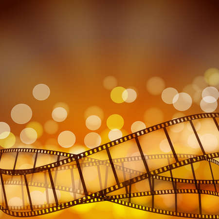 cinema background with film strips and light rays. vector illustration Çizim