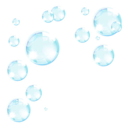 spume: blue soap bubbles abstract background Illustration