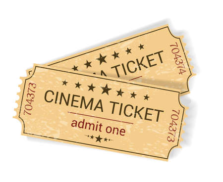 yellowish: pair of vintage yellowish old cinema tickets on white