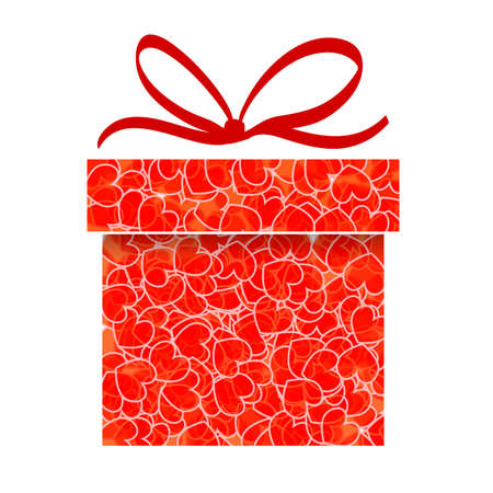 red gift box: abstract red gift box with transparent heart pattern Illustration