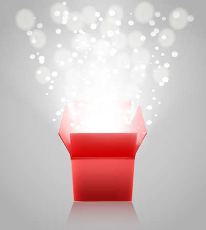 red  open: red open box with light rays on grey background. vector illustration Illustration