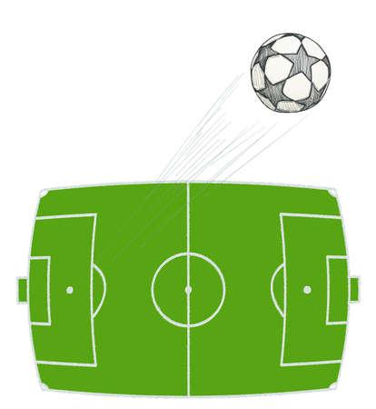 pelota de futbol: dibujado a mano balón de fútbol volando sobre el estadio. ilustración vectorial
