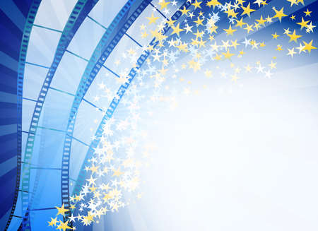 blue film: blue abstract background with retro blue film strip and golden stars
