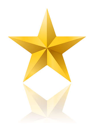 golden star shape isolated on white with reflection. vector illustration Illustration