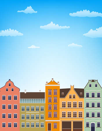 blue roof: vertical background with retro houses over blue sky with clouds. vector illustration Illustration