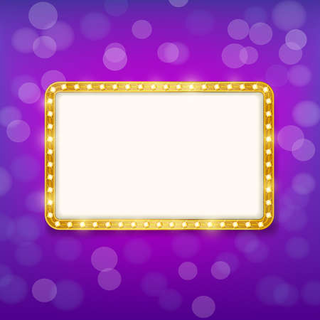 ultra modern: golden frame with light bulbs on purple blurry background. vector illustration